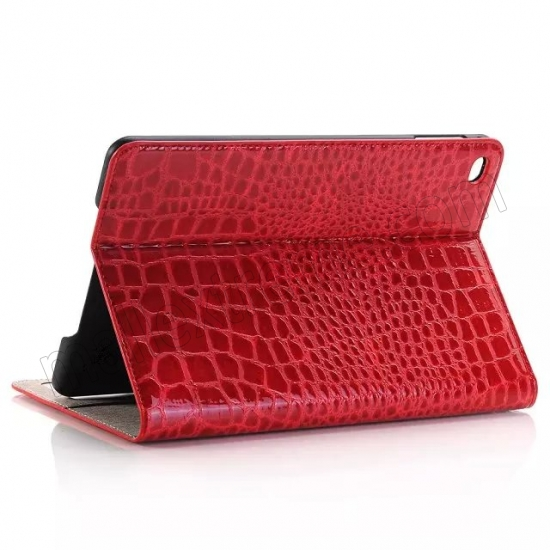 wholesale Red New Crocodile Wallet Leather Case Cover with Stand For Apple iPad mini 4