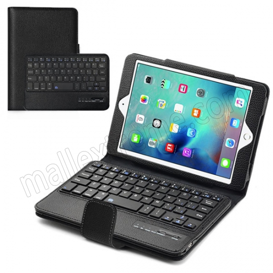 wholesale Black Folding PU Leather Case for Apple iPad Mini 4 with Wireless Bluetooth Keyboard