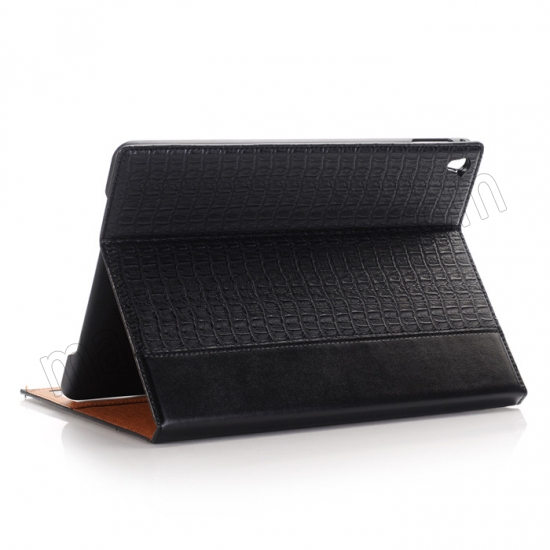 wholesale Black Luxury Crocodile Grain Leather Stand Case Cover for Apple iPad Pro 9.7 Inch