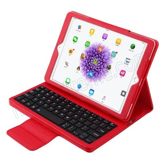 wholesale Red Detachable Wireless Bluetooth Keyboard Folio Leather Case for iPad Pro 9.7 inch
