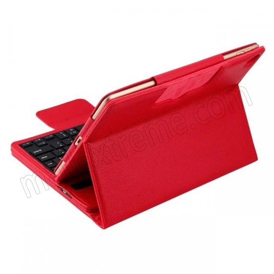 discount Red Detachable Wireless Bluetooth Keyboard Folio Leather Case for iPad Pro 9.7 inch