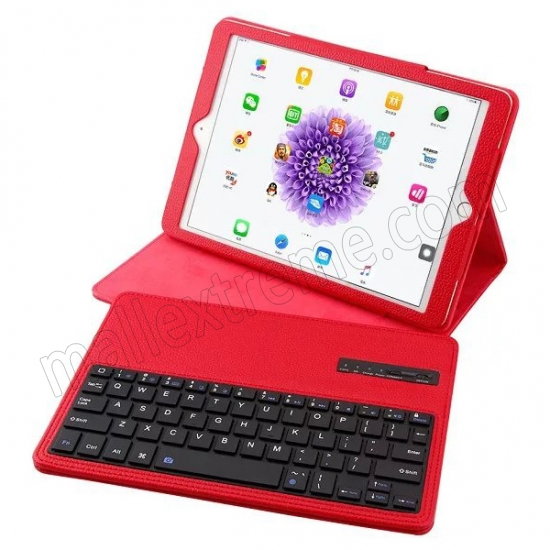 cheap Red Detachable Wireless Bluetooth Keyboard Folio Leather Case for iPad Pro 9.7 inch