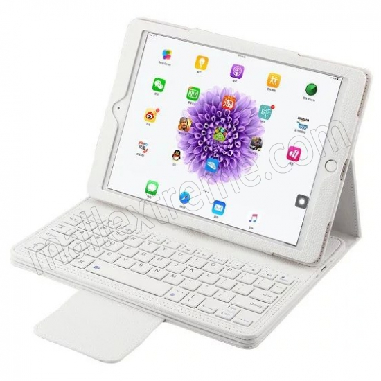 wholesale White Detachable Wireless Bluetooth Keyboard Folio Leather Case for iPad Pro 9.7 inch