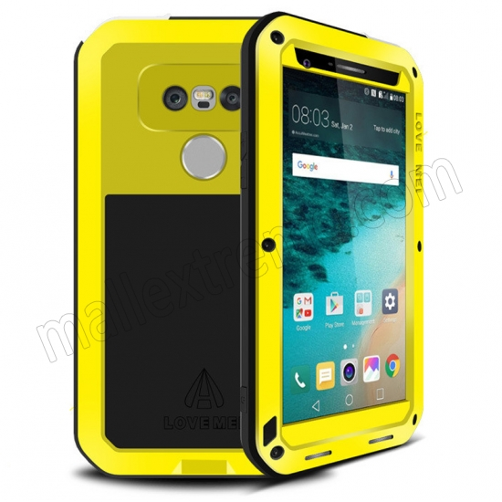 wholesale Yellow Shockproof Dustproof Aluminum Metal Tempered Glass Case for LG G5