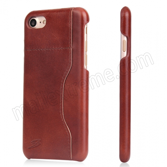 wholesale Brown 100% Real Genuine Leather Back Cover Case with Card Slots for iPhone 7 4.7 inch