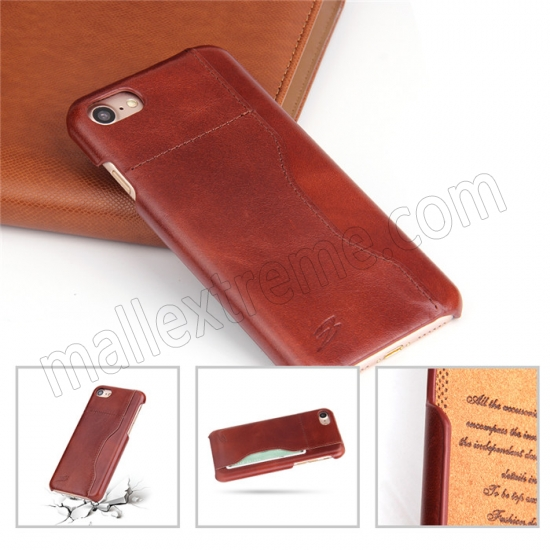 top quality Brown 100% Real Genuine Leather Back Cover Case with Card Slots for iPhone 7 4.7 inch