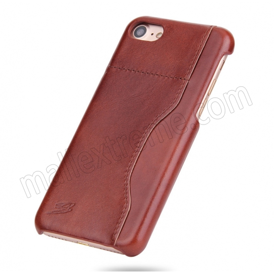 discount Brown 100% Real Genuine Leather Back Cover Case with Card Slots for iPhone 7 4.7 inch