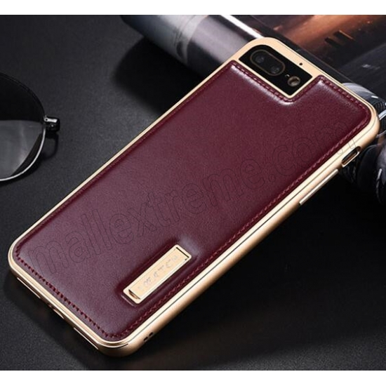 discount Gold&Wine Red Deluxe Genuine Leather Back Metal/Aluminum Frame Case Cover For iPhone 7 Plus 5.5 inch