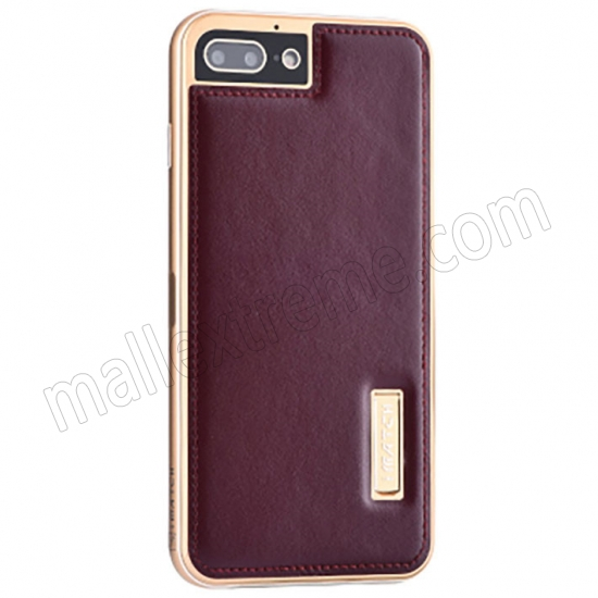wholesale Gold&Wine Red Deluxe Genuine Leather Back Metal/Aluminum Frame Case Cover For iPhone 7 Plus 5.5 inch