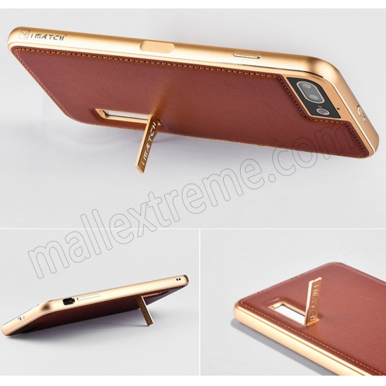 top quality Gold&Wine Red Deluxe Genuine Leather Back Metal/Aluminum Frame Case Cover For iPhone 7 Plus 5.5 inch