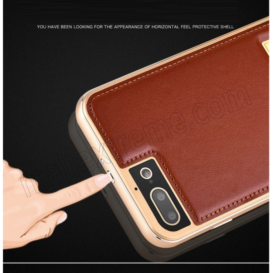 low price Gold&Wine Red Deluxe Genuine Leather Back Metal/Aluminum Frame Case Cover For iPhone 7 Plus 5.5 inch