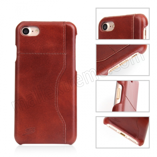discount Orange 100% Real Genuine Leather Back Cover Case with Card Slots for iPhone 7 4.7 inch