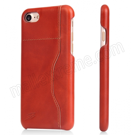 wholesale Orange 100% Real Genuine Leather Back Cover Case with Card Slots for iPhone 7 4.7 inch