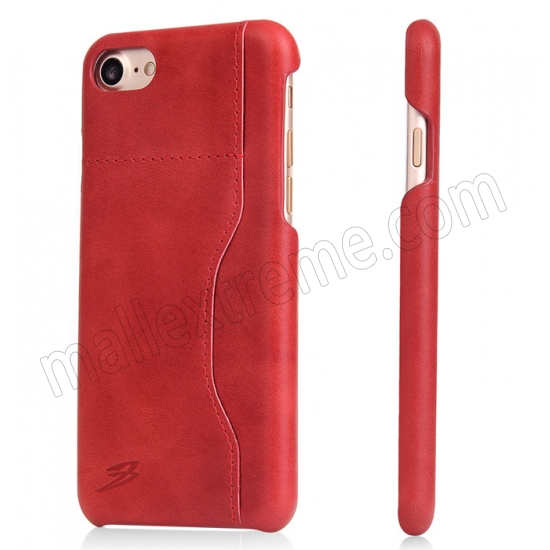 wholesale Red 100% Real Genuine Leather Back Cover Case with Card Slots for iPhone 7 4.7 inch