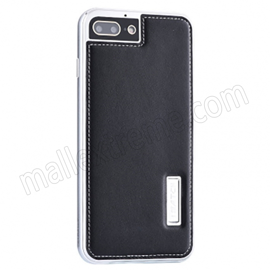 wholesale Silver&Black Deluxe Genuine Leather Back Metal/Aluminum Frame Case Cover For iPhone 7 Plus 5.5 inch