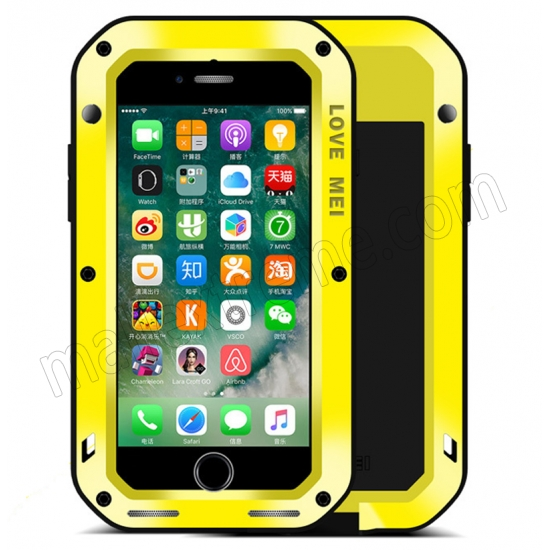 wholesale Yellow Waterproof Shockproof Aluminum Gorilla Glass Metal Case For New iPhone 7 Plus 5.5 inch