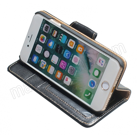 best price Black 100% Cowhide Leather Wallet Genuine Flip Case For iPhone 7 Plus