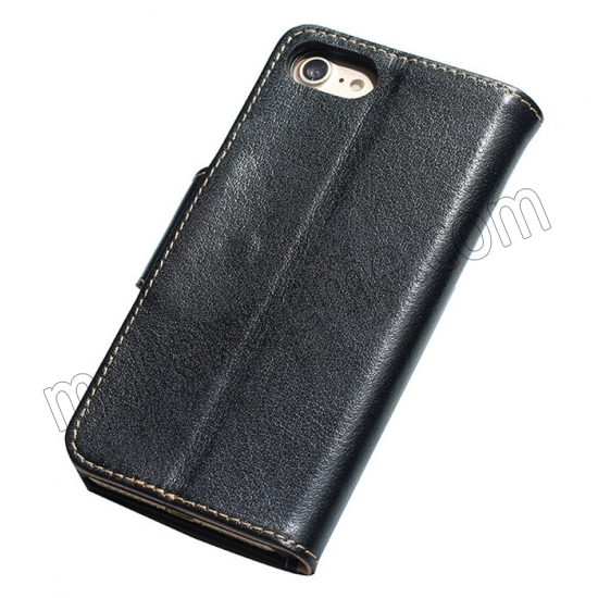 discount Black 100% Cowhide Leather Wallet Genuine Flip Case For iPhone 7 Plus