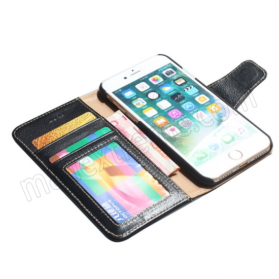 on sale Black 100% Cowhide Leather Wallet Genuine Flip Case For iPhone 7 Plus