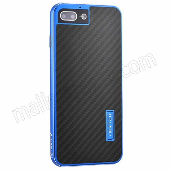 wholesale Blue&Black Aluminum Metal Carbon fiber Hard Back Cover Case for iPhone 7