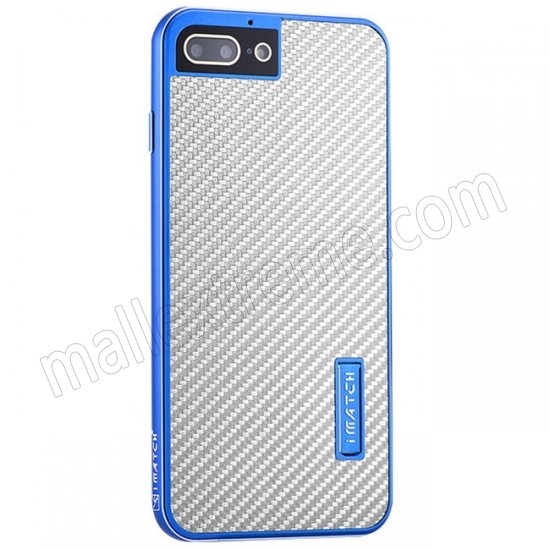 wholesale Blue&Silver Aluminum Metal Carbon fiber Hard Back Cover Case for iPhone 7