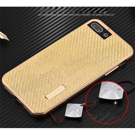 discount Gold Aluminum Metal Carbon fiber Hard Back Cover Case for iPhone 7