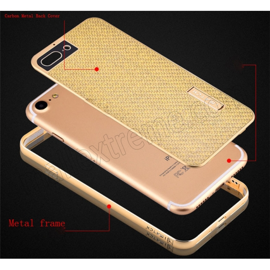 top quality Gold&Silver Aluminum Metal Carbon fiber Hard Back Cover Case for iPhone 7