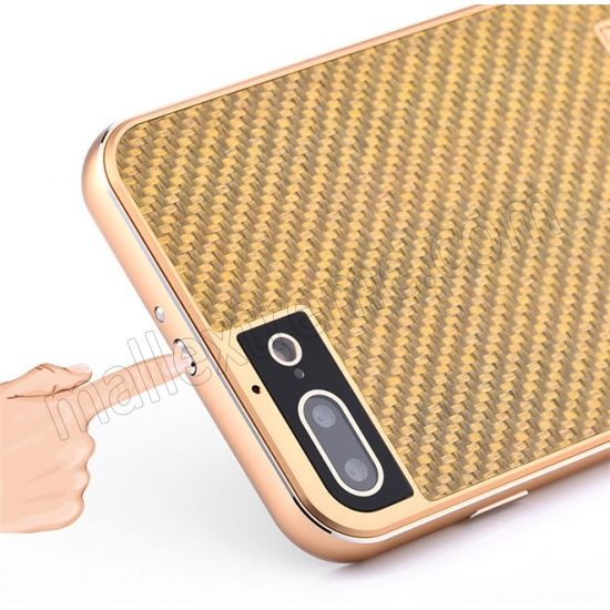 low price Gold&Silver Aluminum Metal Carbon fiber Hard Back Cover Case for iPhone 7