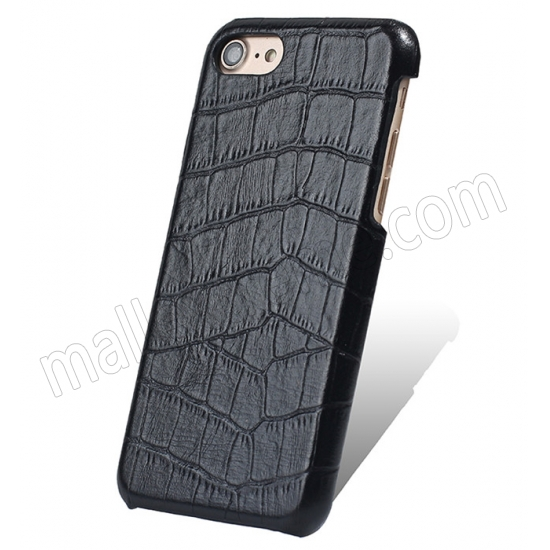 wholesale Black Real Leather Crocodile Skin Pattern Protector Back Cover Case For iPhone 7