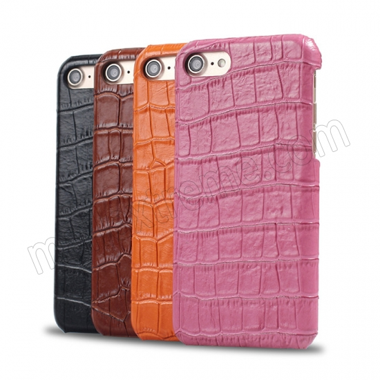 top quality Black Real Leather Crocodile Skin Pattern Protector Back Cover Case For iPhone 7