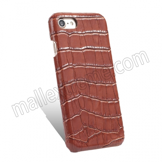 top quality Brown Real Leather Crocodile Skin Pattern Protector Back Cover Case For iPhone 7