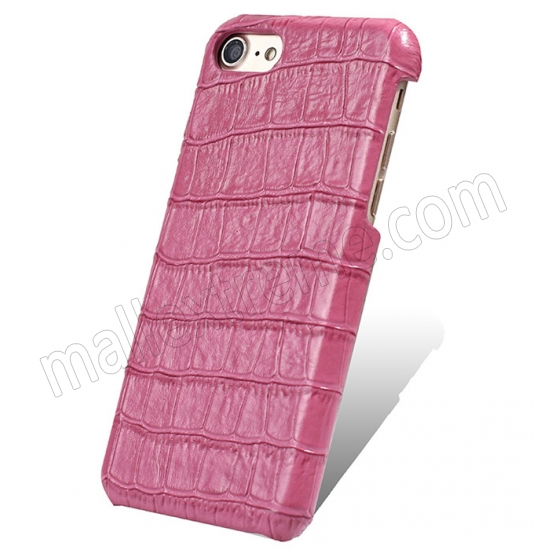 wholesale Hot Pink Real Leather Crocodile Skin Pattern Protector Back Cover Case For iPhone 7
