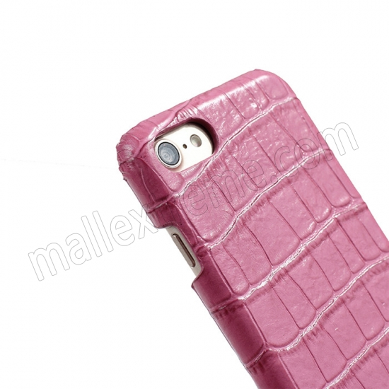 top quality Hot Pink Real Leather Crocodile Skin Pattern Protector Back Cover Case For iPhone 7