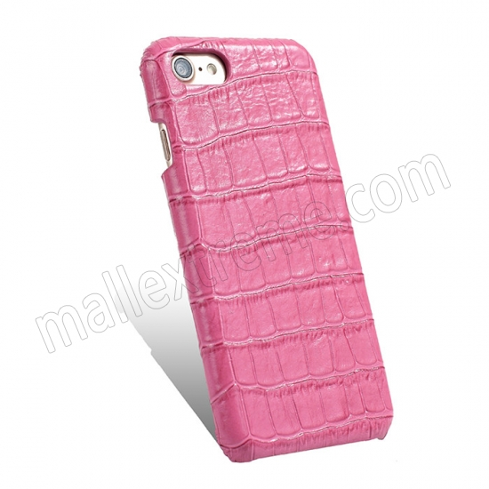 cheap Hot Pink Real Leather Crocodile Skin Pattern Protector Back Cover Case For iPhone 7