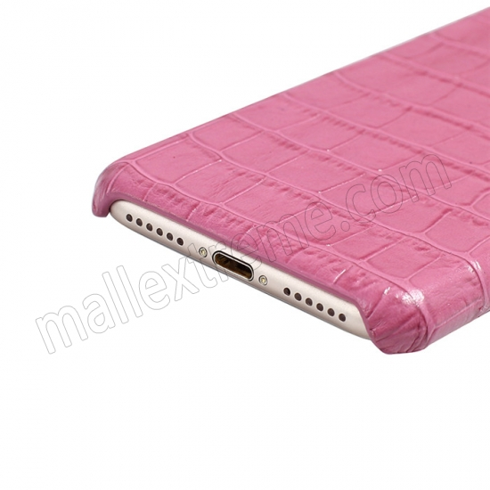 on sale Hot Pink Real Leather Crocodile Skin Pattern Protector Back Cover Case For iPhone 7