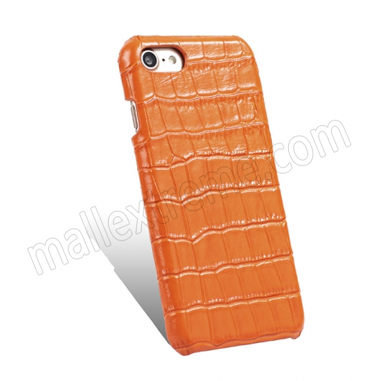 cheap Orange Real Leather Crocodile Skin Pattern Protector Back Cover Case For iPhone 7
