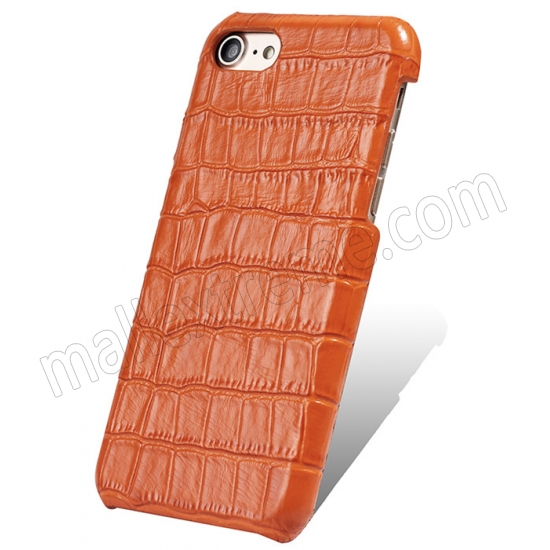 wholesale Orange Real Leather Crocodile Skin Pattern Protector Back Cover Case For iPhone 7