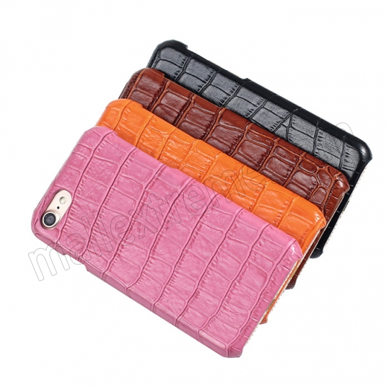 best price Orange Real Leather Crocodile Skin Pattern Protector Back Cover Case For iPhone 7