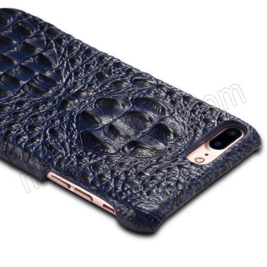 best price Blue Crocodile Genuine Cowhide Leather Back Cover Case For iPhone 7 Plus 5.5 inch