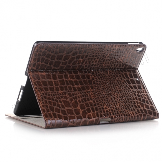 wholesale Brown Crocodile Pattern Smart Shell Case Auto Sleep Wake Cover for iPad Pro 10.5 inch
