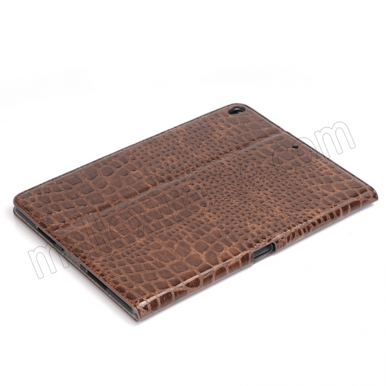low price Brown Crocodile Pattern Smart Shell Case Auto Sleep Wake Cover for iPad Pro 10.5 inch