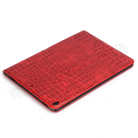 discount Red Crocodile Pattern Smart Shell Case Auto Sleep Wake Cover for iPad Pro 10.5 inch