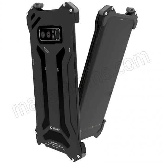cheap Black R-Just Aluminum Metal Shockproof Case for Samsung Galaxy Note 8