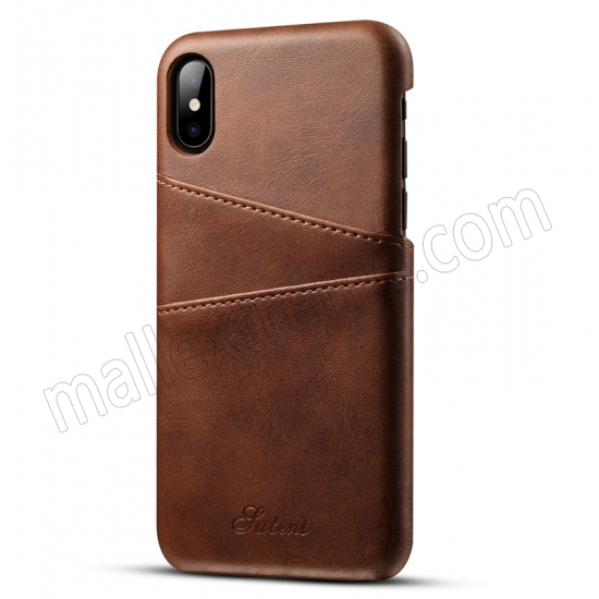 wholesale Coffee Luxury Leather Card Slots Case Back Cover for iPhone X