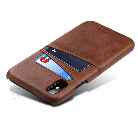 cheap Coffee Luxury Leather Card Slots Case Back Cover for iPhone X