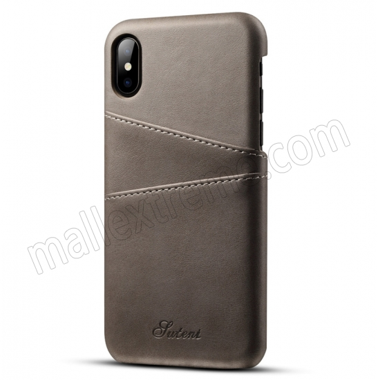 wholesale Grey Luxury Leather Card Slots Case Back Cover for iPhone X