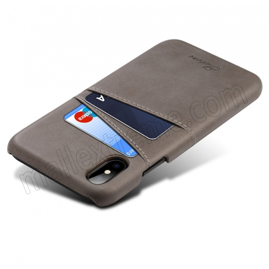 cheap Grey Luxury Leather Card Slots Case Back Cover for iPhone X