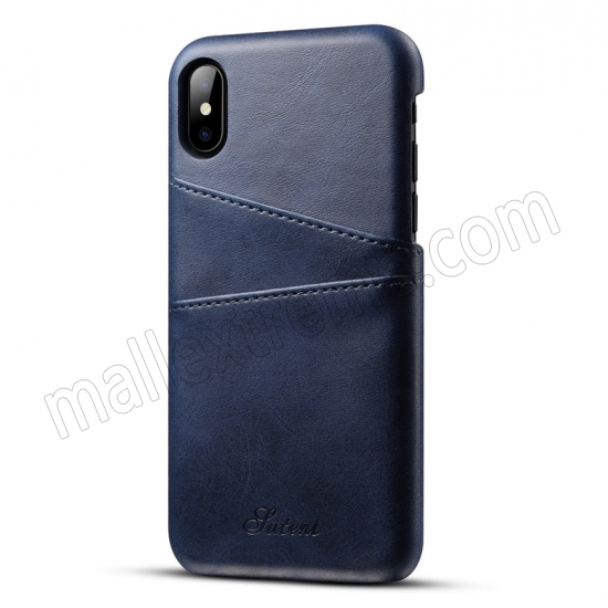 wholesale Navy Blue Luxury Leather Card Slots Case Back Cover for iPhone X