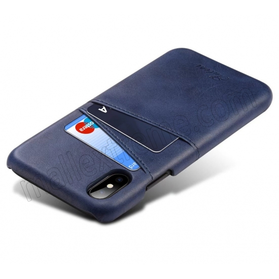 cheap Navy Blue Luxury Leather Card Slots Case Back Cover for iPhone X