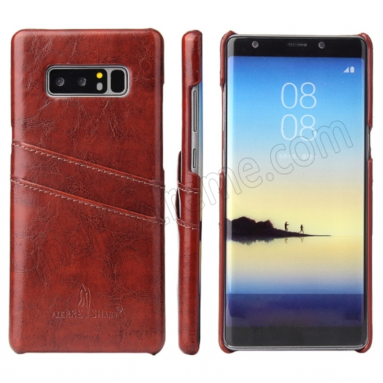 wholesale Brown For Samsung Galaxy Note 8 Luxury Oil Wax Card PU Leather Back Hard Case Cover